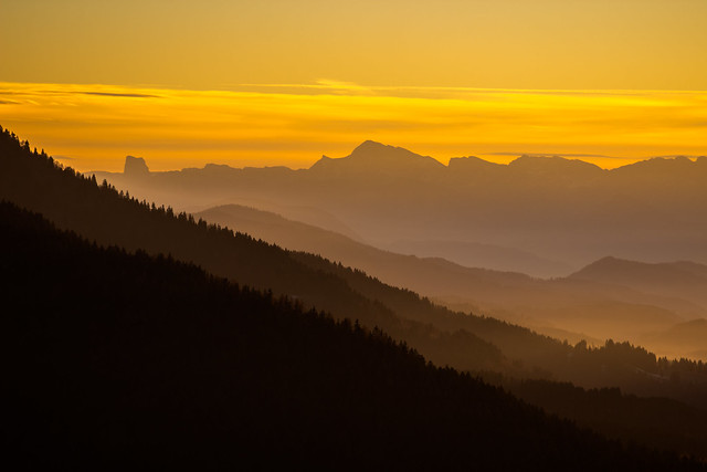 Sunset far from Mont Aiguille