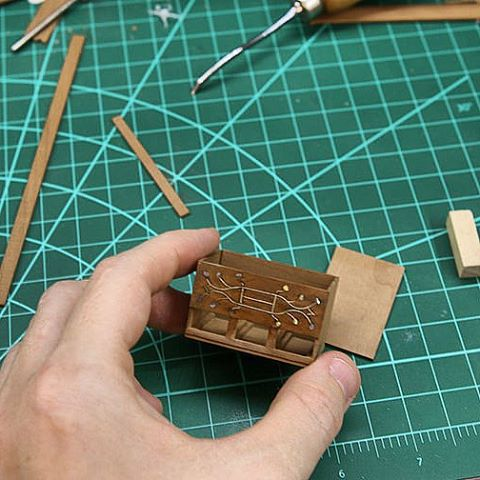 WIP - miniature spice chest. #miniature #dollhouse #miniaturefurniture