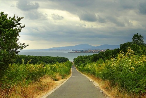 road sea summer hot green nature clouds landscape view path hills bulgaria blacksea primorsko strandzha begliktash