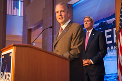 U.S. Senator for Alaska Dan Sullivan, discusses the effects of Arctic climate change at the Welcoming Reception for the Global Leadership in the Arctic: Cooperation, Innovation, Engagement, and Resilience (GLACIER) Conference, at the Anchorage Museum, in Anchorage, Alaska, on August 30, 2015.  [State Department Photo / Public Domain]