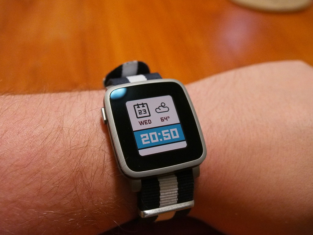 Pebble Time Steel on wrist
