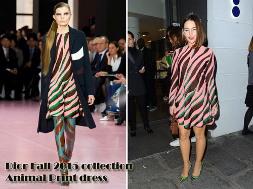 Emilia Clarke in Dior Fall 2015 collection Animal Print dress: Zebra print dress