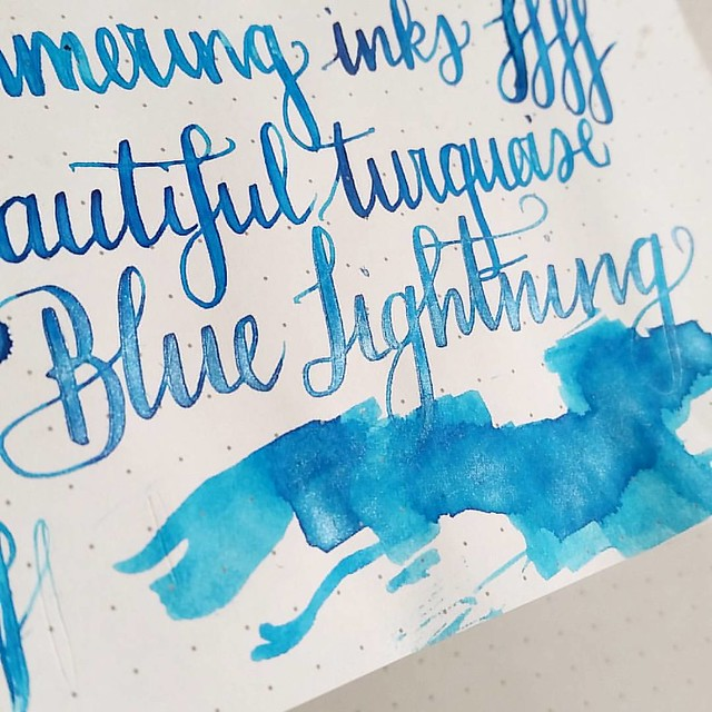This is freaking spectacular! @bureaudirect @mishka5050 #shimmeringink #diamine #shimmertastic #bluelightning #fountainpenink #fpgeeks #FPN #fountainpennetwork