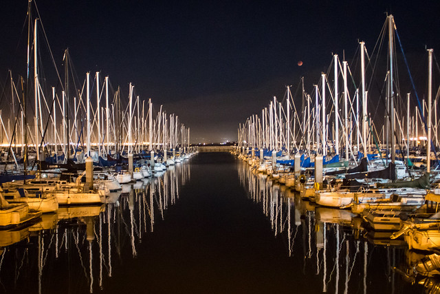 D5910E7 - Boats in the Harbor at Night