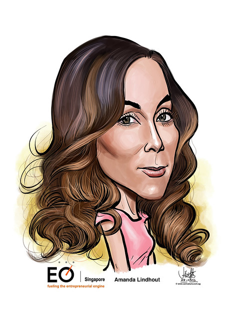 Amanda Lindhout digital caricature for EO Singapore