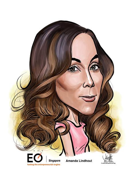 Amanda Lindhout digital caricature for EO Singapore