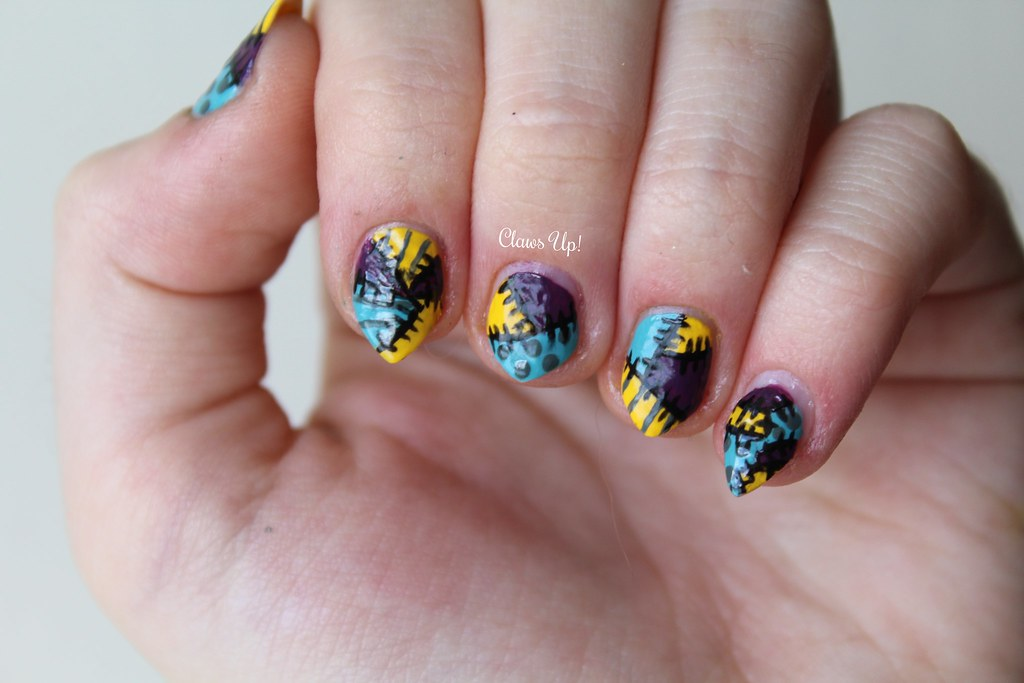 The Nightmare Before Christmas Sally nail art