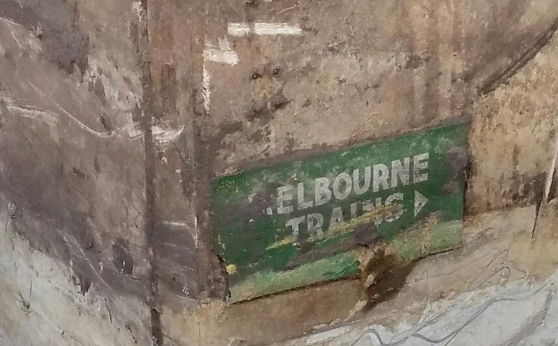 Bentleigh station: sign in the old underpass