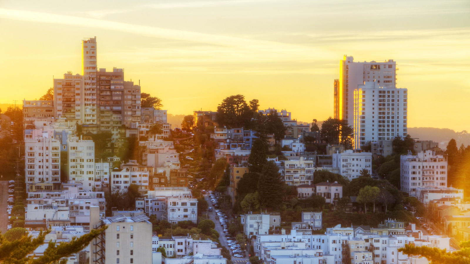 Golden Flare Over Lombard Street