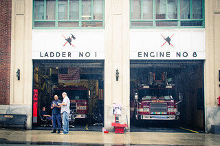 Firefighters under the rain (Boston)
