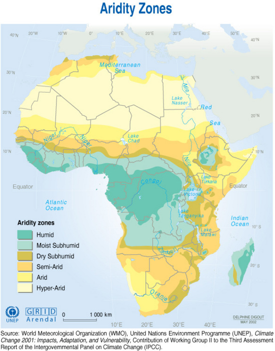 Map Of Africa Climate Zones.Aridity Zones Grid Arendal