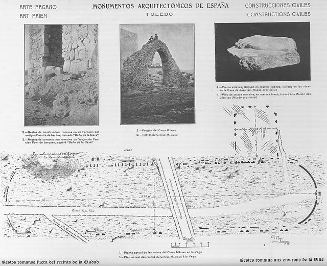 """Plano del circo romano de Toledo y de los restos bajo el Colegio de Carmelitas en 1905 , publicados por Amador de los Ríos en su """"Monumentos arquitectónicos de España"""""""