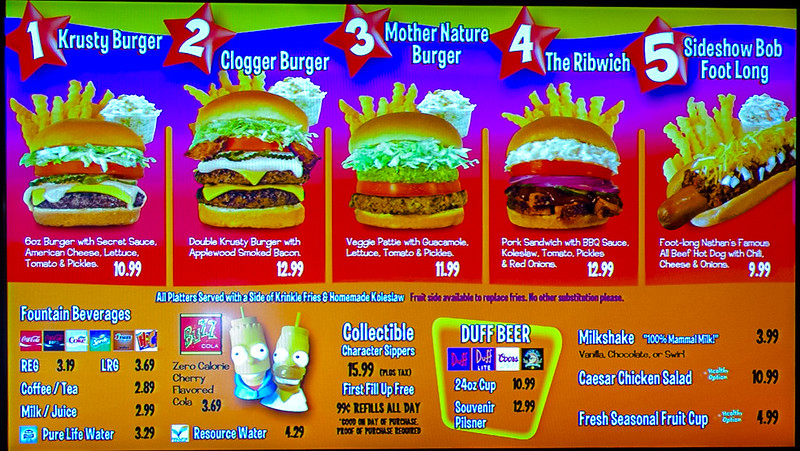Krusty Burger Menu
