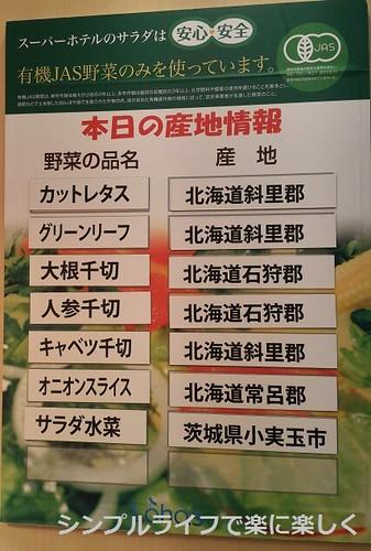 東京ホテル、朝食の野菜産地