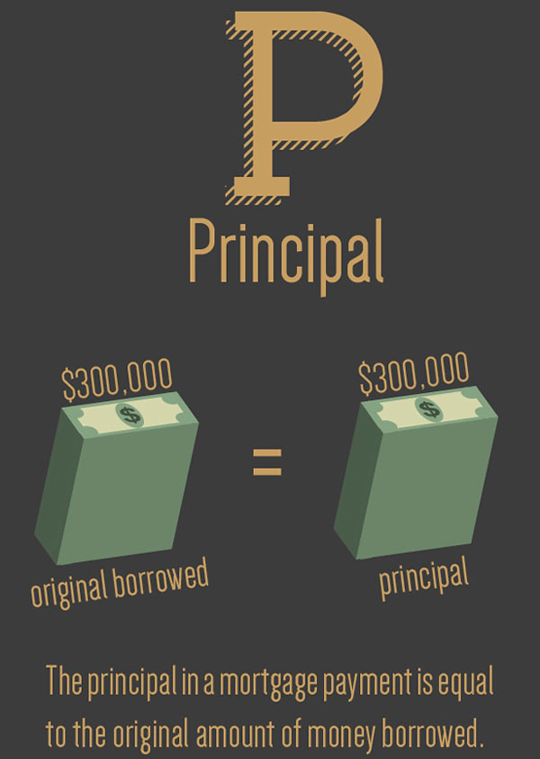 Principal on your home is the amount you borrowed to pay for the home.