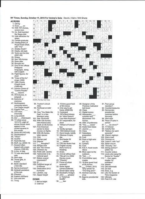 NYT Sunday Puzzle - October 11, 2015