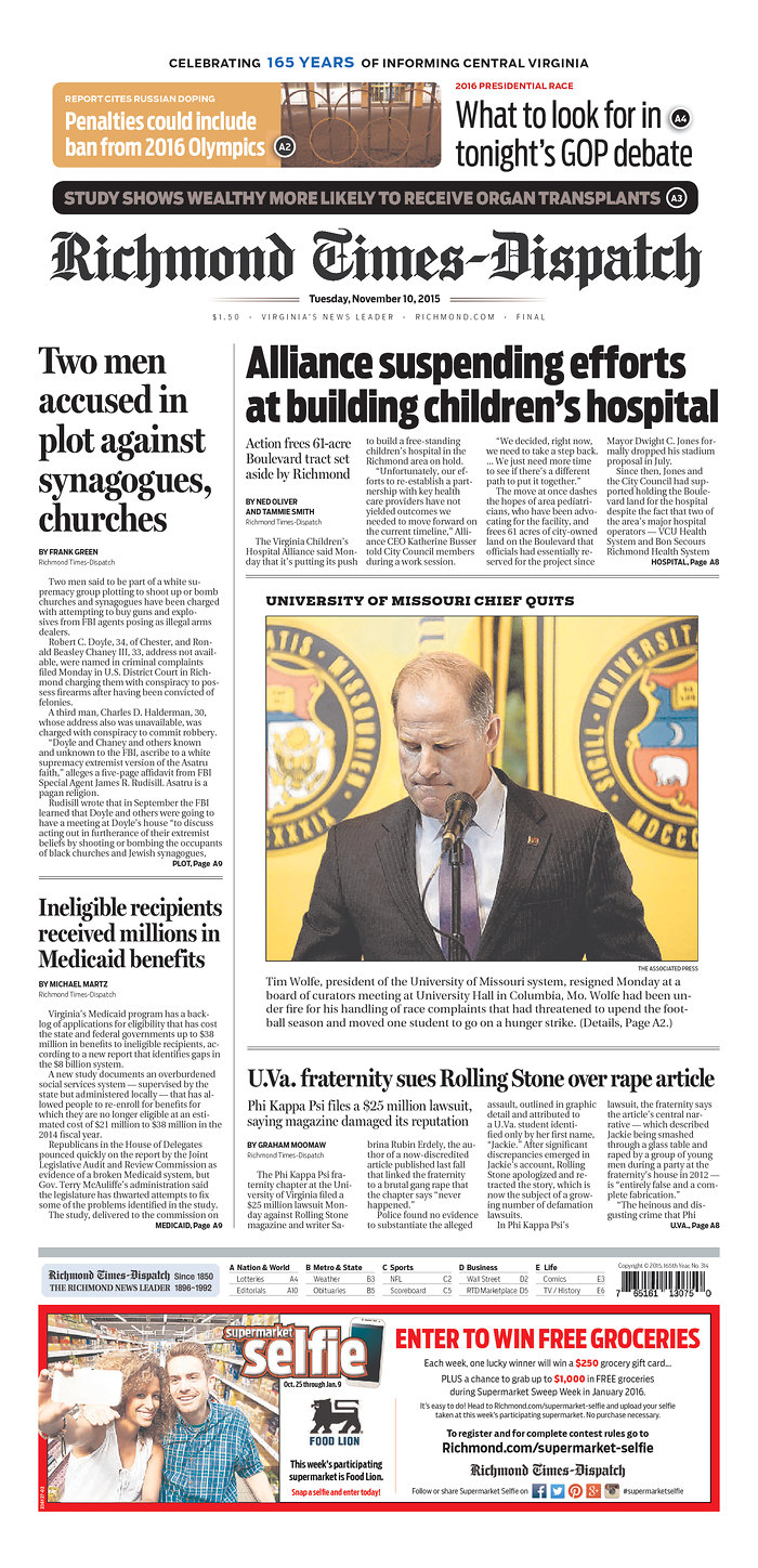 Front pages of covering the University of the Missouri