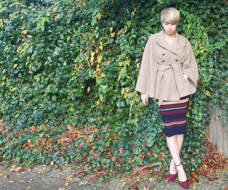 Sam Muses, UK Fashion Blog, London Style Blogger, Stylist, Oasis, Sweater Dress, Midi, Multicoloured, Striped, Primark, Cape, Jacket, Coat, Belted, Burgundy, Mary Janes, Dolly Shoes, Heels, How to Wear, Outfit Ideas, Style Inspiration, AW15