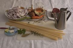 Ziti (Long pasta of durum wheat) Genovese ingredie…