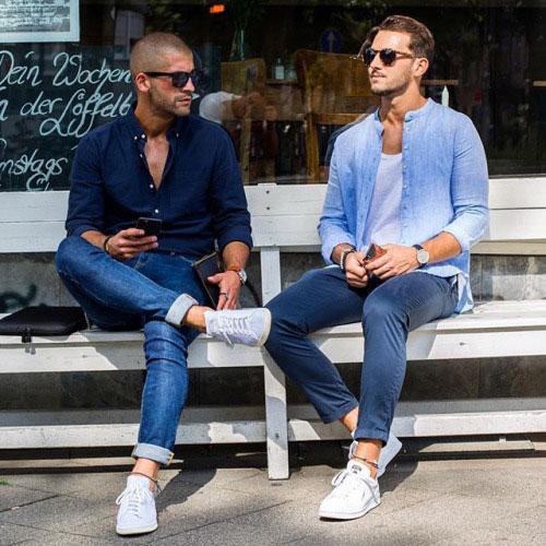 オックスフォードシャツ×デニムパンツ&バンドカラーシャツ×スキニーパンツ