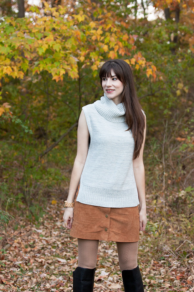 Grey Turtleneck Sweater, Sleeveless Sweater, Fall Style, Fall Leaves, Asos Suede Skirt