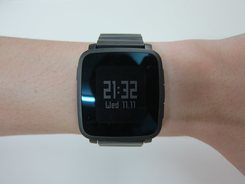 Pebble Time Steel - Gunmetal Black Steel Band - With PTS On Wrist
