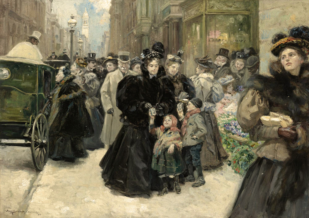 Christmas On Fifth Avenue by Alice Barber Stephens (American, 1858 - 1932)