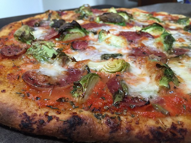 Salami/Brussels Sprouts Pizza