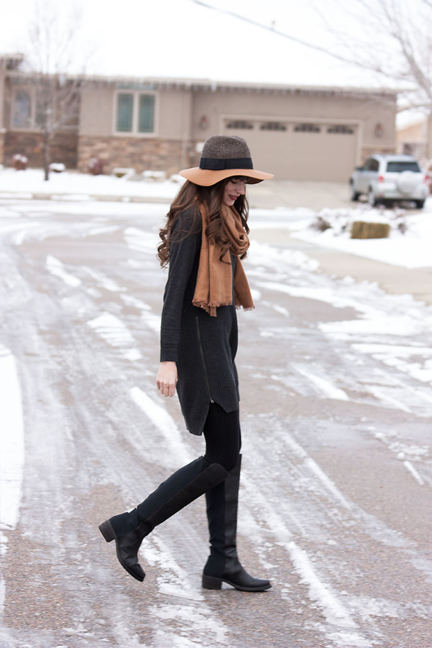 Side Zip Sweater Dress, Two Tone Wool Hat, Black Knee High Boots