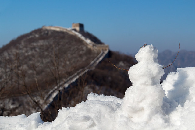 Great Wall of China with snowman