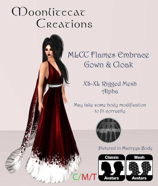 MLCC Flames Embrace Gown & Cloak Ad Pic