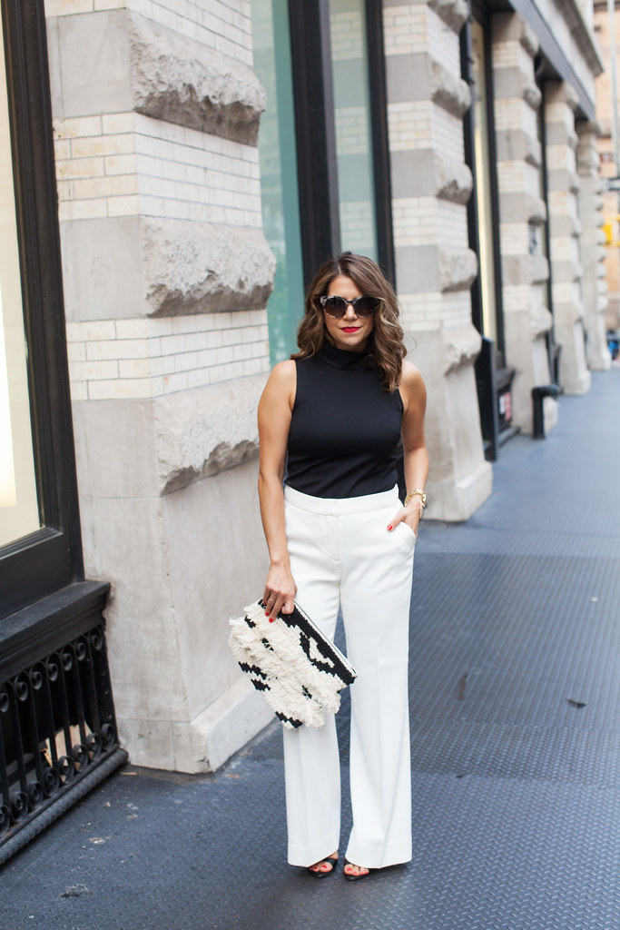 Top - Zara sold out (similar here) Pants - Reiss black and white looks what to wear out nyc fashion blogger Heels - Zara Bag - LOFT Sunglasses - Anthropologie