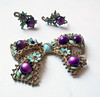 Vintage Shabby Chic Purple and Aqua Bow Brooch - Matching Screwback Earrings