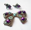 Vintage Shabby Chic Purple and Aqua Bow Brooch - Matching Screwback Earrings by karalennox