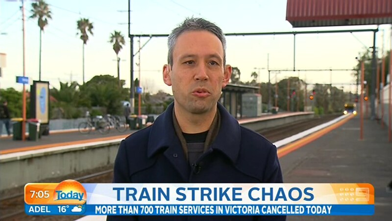 Today Show 4/9/2015: That moment when you're talking about train disruptions, and one sneaks up behind you.