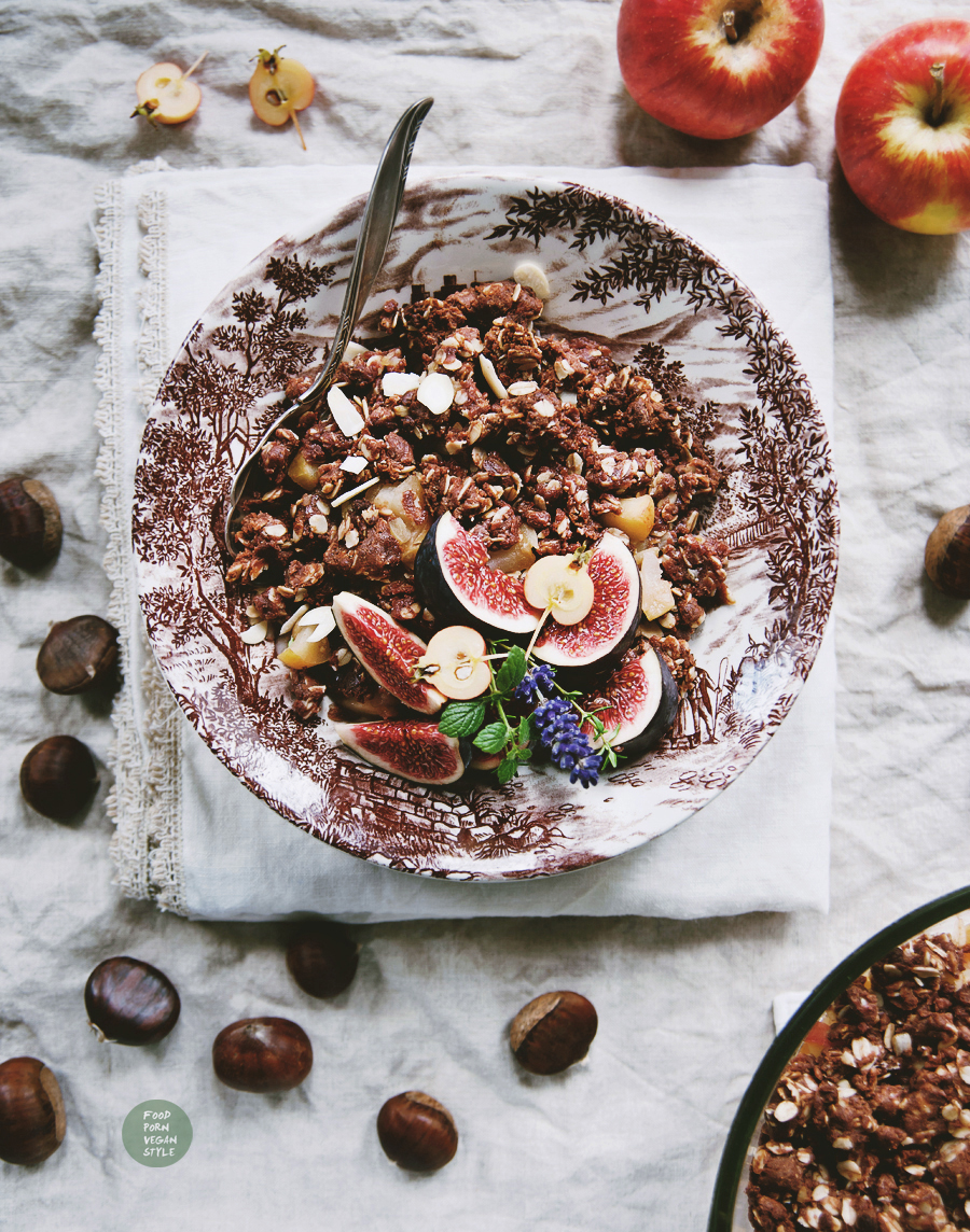 Vegan chestnut crumble with apples