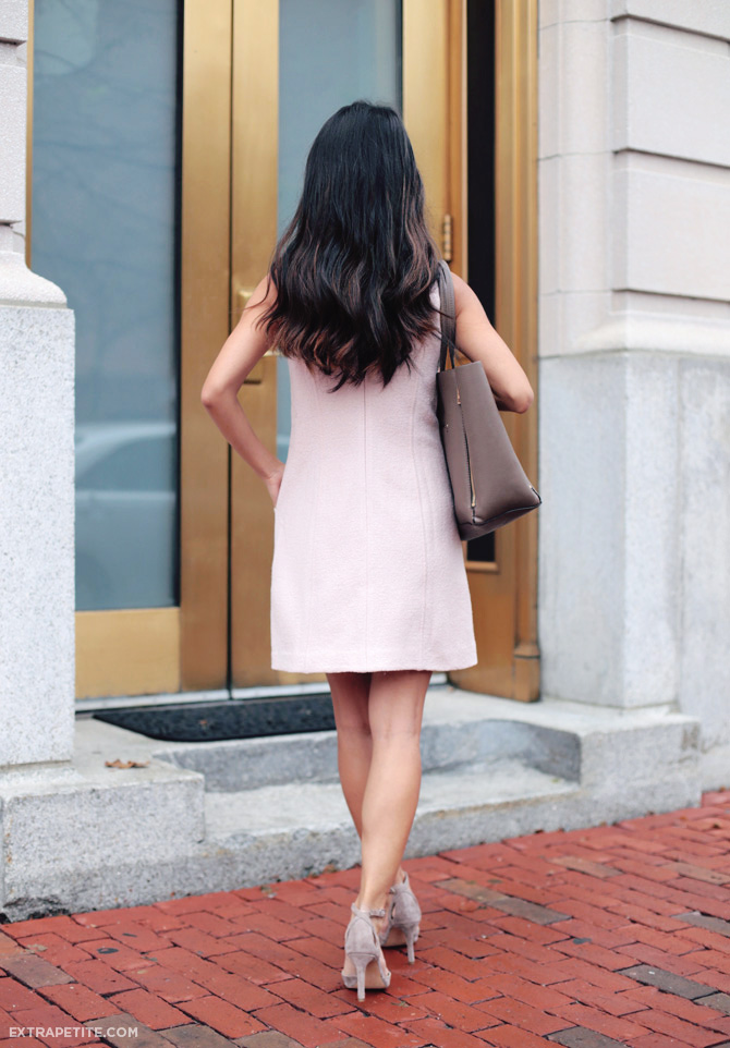 ann taylor pink wool dress back