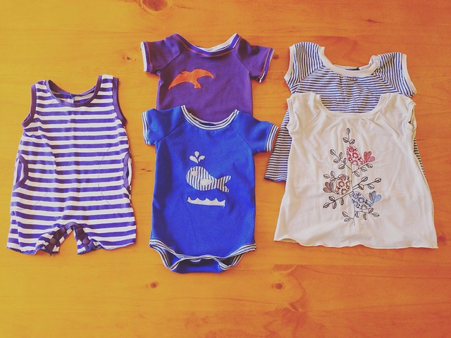 All from Ottobre 03/2013: #2 Star Star romper; #1 Speedy Girl dress; & #3 onesie. #3 The bird appliqué is my own.