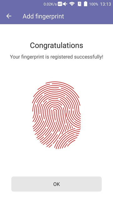 ZTE Axon Elite - Fingerprint Registered Successfully