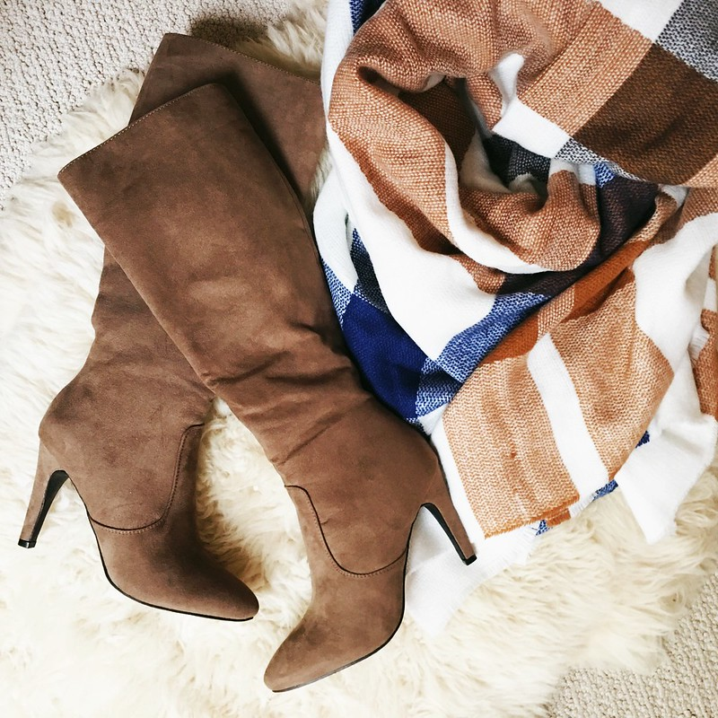cute & little blog | petite fashion | blanket scarf, suede knee-high boots | fall accessories