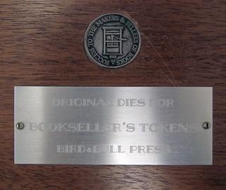 Original dies for booksellers tokens
