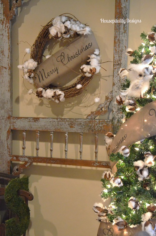 Cotton Garland Tree/Vintage Screen Door - Housepitality Designs
