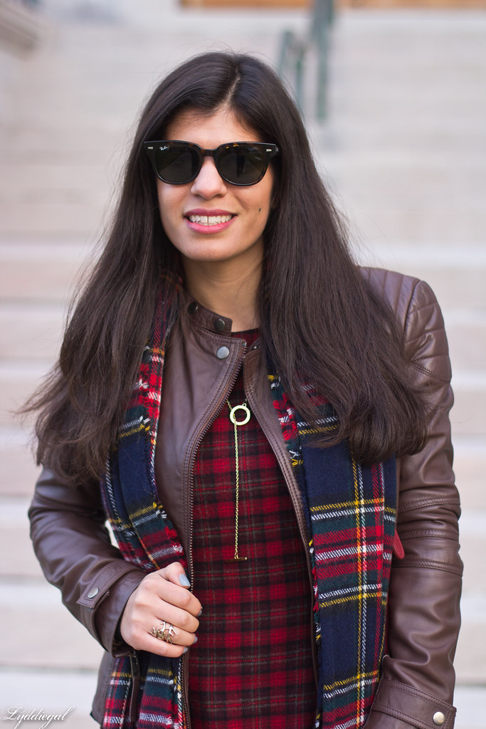 plaid dress, brown leather jacket, brown boots-3.jpg