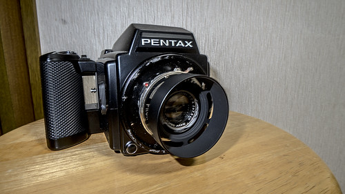 Pentax 645 with Trioplan 7.5cm f2.9