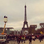 Sat, 12/12/2015 - 3:49pm - And other assembly point further down from the Eiffel Tower during the people's climate change March these two points were separated by a quarter mile of fencing so two huge marches could meet up but everybody was still in a great mood and celebrating for