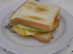 sandwich, meal, breakfast, food, dish, breakfast sandwich, cuisine, toast,
