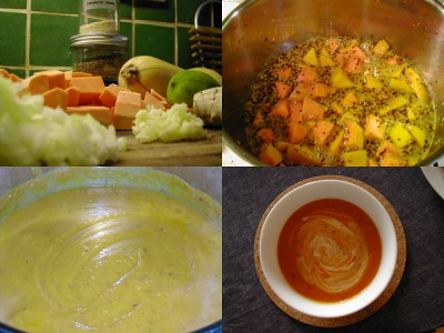 Spicy sweet potato and butternut soup montage