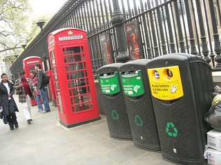 Garbage cans and phone booths