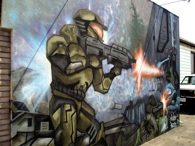 halo mural flickr photo sharing halo wall mural by silverwing21 on deviantart