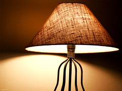 lamp, brown, light fixture, yellow, lampshade, light, lighting,